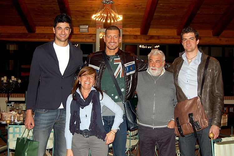 "2012. The best Italian Volleyball players of the ""Bre Banca Lanutti Cuneo"" guests of the Berta Distilleries. From left: Leandro Vissotto Neves, Gigi ""Mastro"" Mastrangelo, Gianfranco Berta, the captain Wout Wijismans and Simonetta Ghignone Berta."