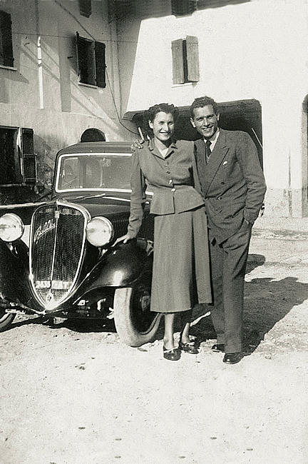 1948. With sister Maria and the 'old lady' Balilla, ready to leave for Liguria…the 'Salt Road'.