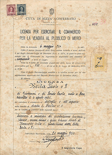 1950. The first licence for the retail sale of alcoholic products.
